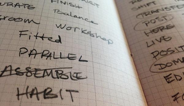 記事を書くことの大変さを表すノート
